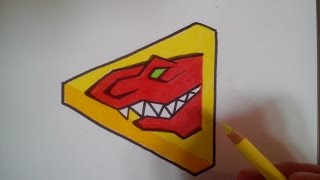 HOW TO DRAW POWER RANGER DINO CHARGE RED - LOGO / como dibujar power ranger dino charge rojo - logo