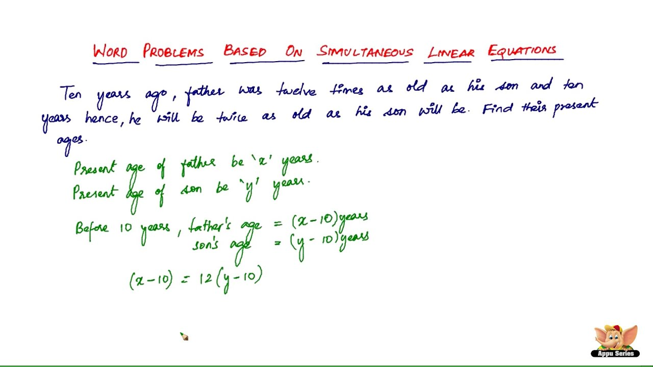 How to solve word problems based on simultaneous linear equations ? -- Vol  5/7