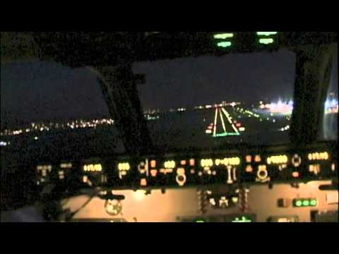 Cockpit MD90 Night Visual into Basel