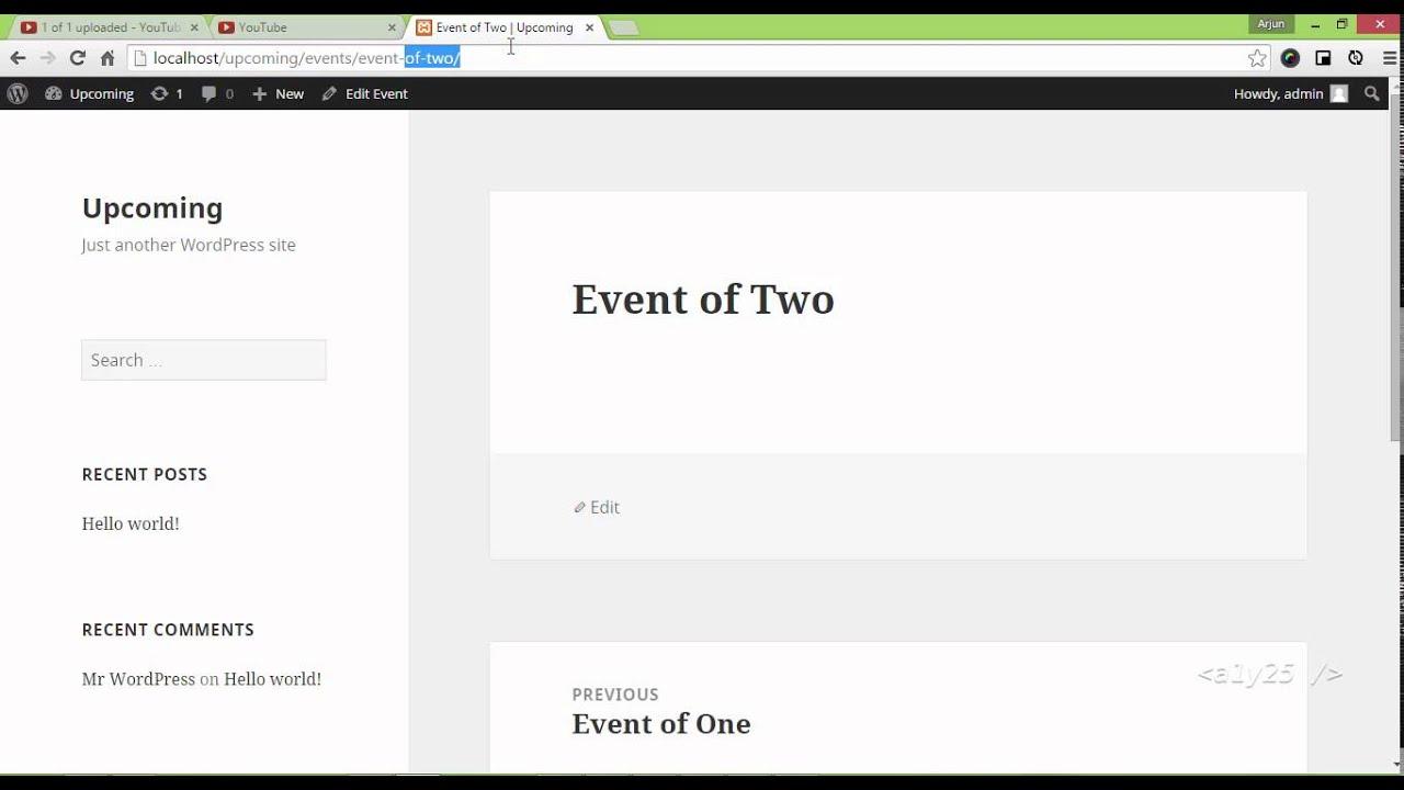 wordpress custom development custom post type archive events template index youtube. Black Bedroom Furniture Sets. Home Design Ideas