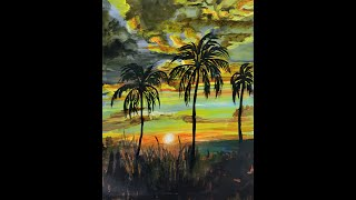 How to Paint Sunrise Horizon scene with morning clouds and Palm Trees | Art of Acrylics