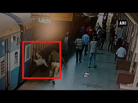 Watch: Man slips from train, RPF personnel saves him