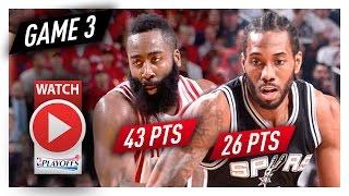 James Harden vs Kawhi Leonard Game 3 MVP Duel Highlights (2017 Playoffs WCSF) Spurs vs Rockets