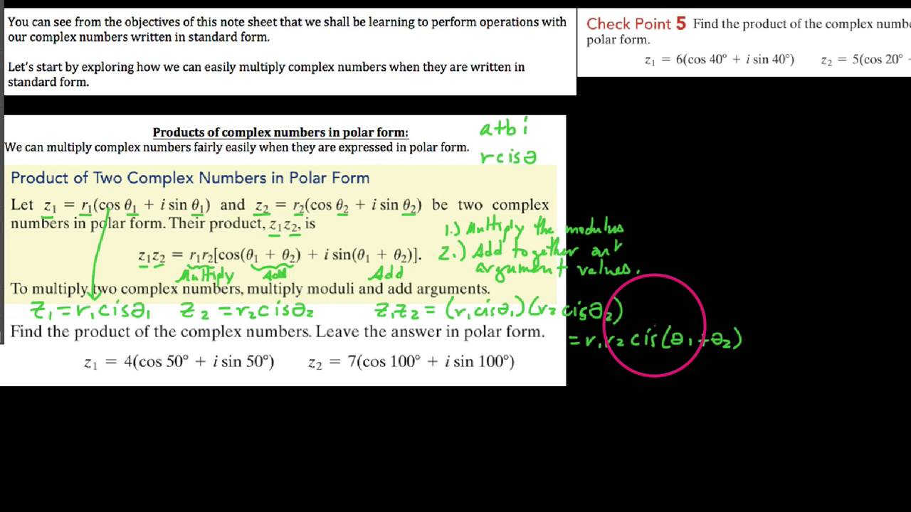 Alg3 757 multiplying complex numbers in polar form youtube falaconquin