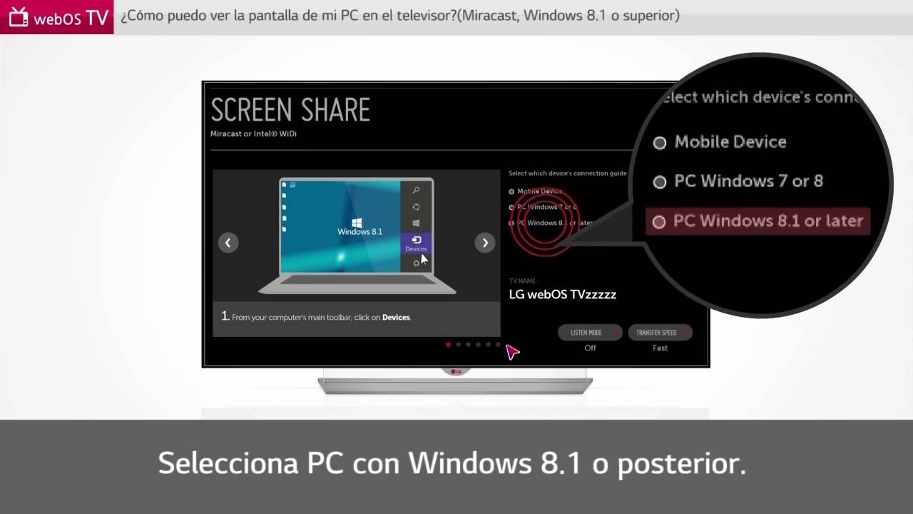 How to screen mirror pc to lg smart tv