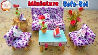 How To Make Miniature Sofa Set And Table|How To Make Mini Sofa And Table Set For Indian Dolls|E.O.C