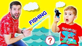Pretend Play Fishing Game. Fun Kids Playing Activity