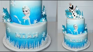 Cake decorating tutorials | how to make an ELSA FROZEN CAKE  | Sugarella Sweets