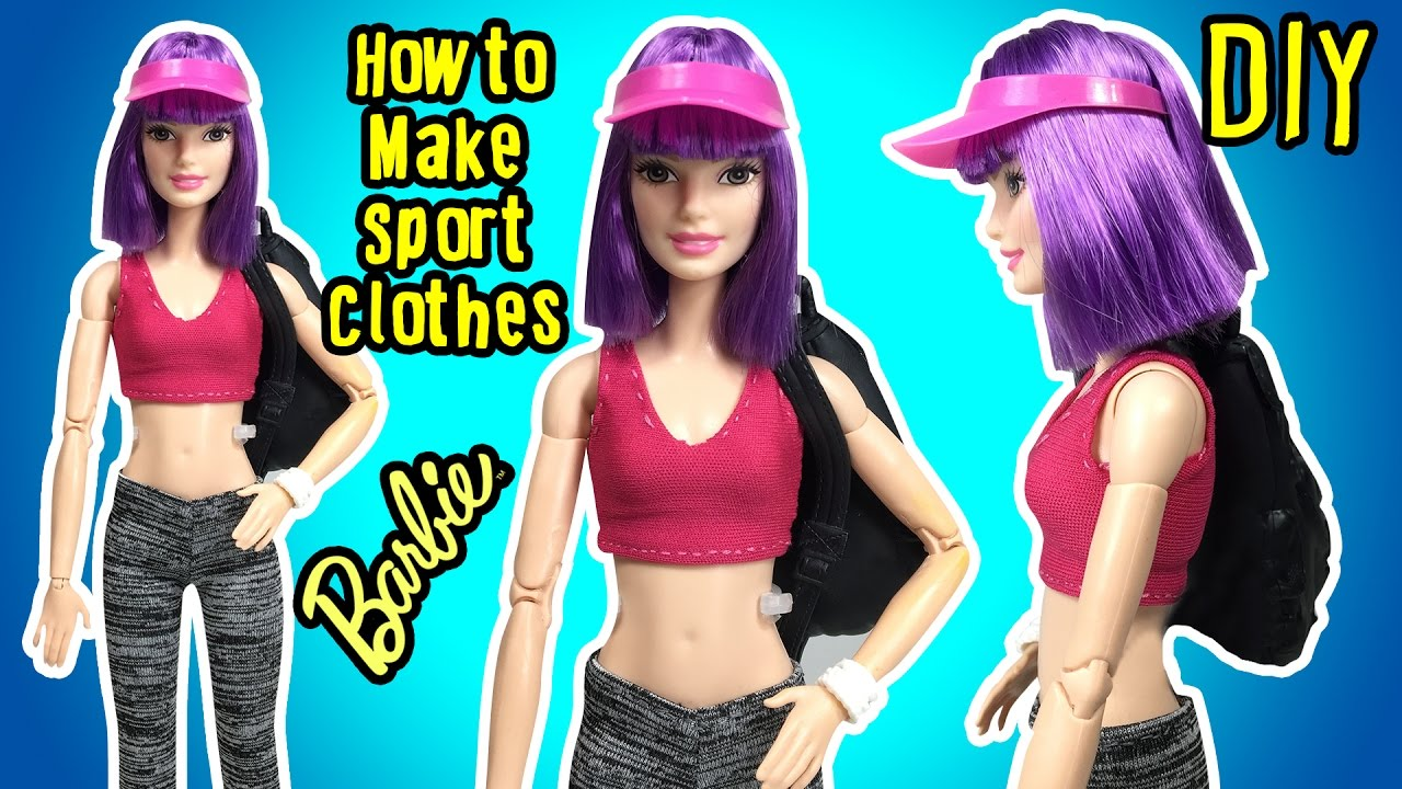 b6bc6b8634a682 DIY - How To Make Barbie Doll Sport Clothes - Doll Tights   Crop Top ...