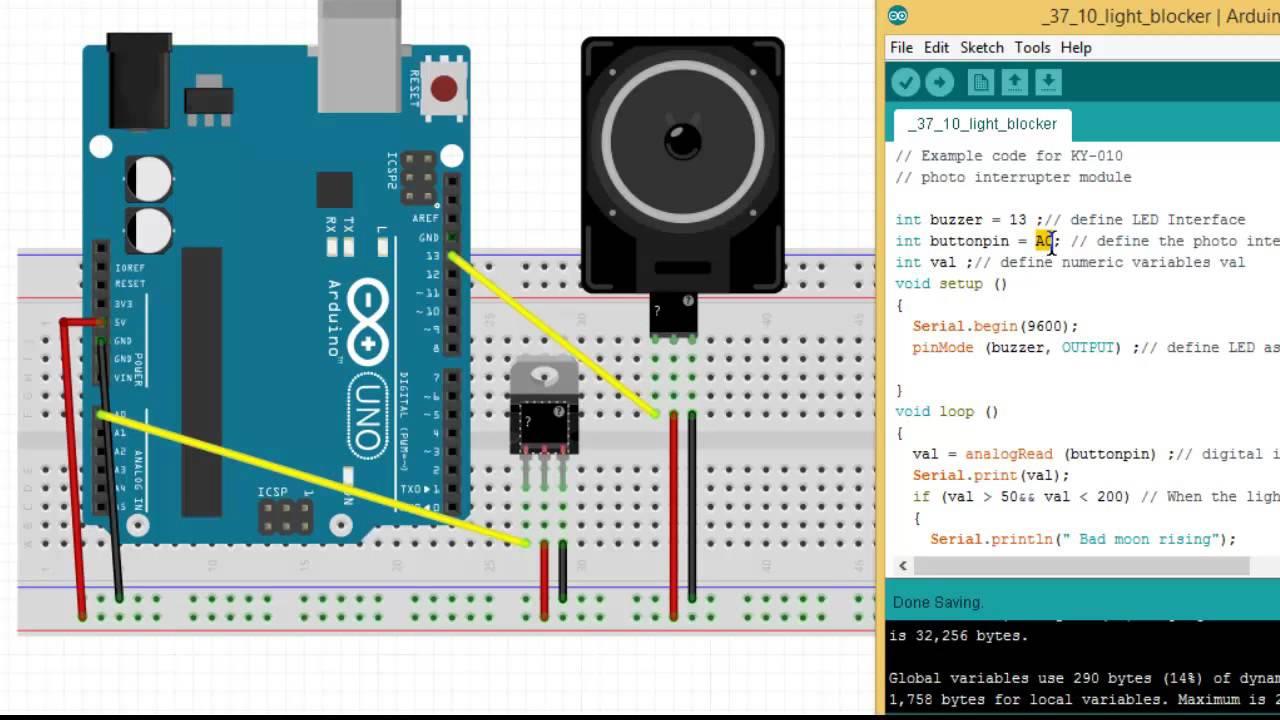 Arduino Ky 010 Smoke Detector Youtube Opto Interrupter Circuit