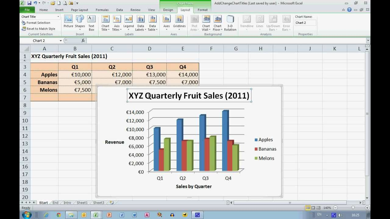 How To... Add And Change Chart Titles In Excel 2010