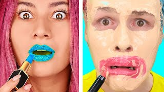 Trying 100 LAYERS CHALLENGE! 100 Layers of Makeup, Nails, Lipstick! by 123 GO!CHALLENGE