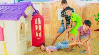 Outdoor PlayGround For Children with Kids Go To School Late Johny Johny Yes Papa Song