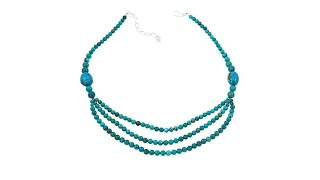 """Jay King Hubei Turquoise Multistrand 18"""" Sterling Silver..."""