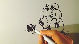 Drawing Caricature, The Snowmen Cartoon