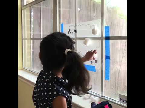 Vertical surface activity with cotton balls and press & seal