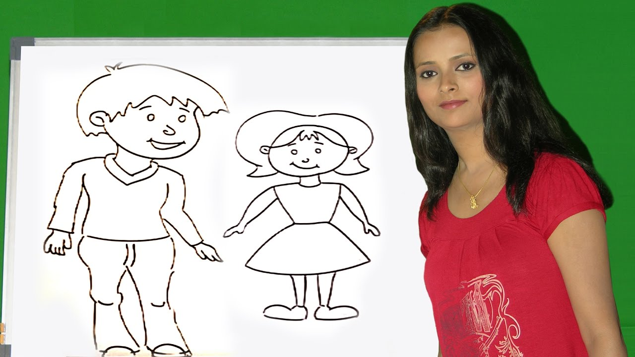 Colouring Pages Boy Girl : How to draw a figures how to draw a boy girl baby man women