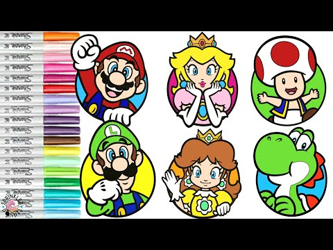 Super Mario Bros Coloring Book Compilation Nintendo Mario Luigi Princess Peach Princess Daisy Yoshi