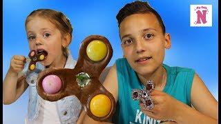 Шоколадный Съедобный Фиджет Спиннер Из Конфет Шоколад Vs Мармелад Fidget Spinner Chocolate Challenge