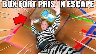 24 HOUR BOX FORT PRISON ESCAPE ROOM!! 📦🚔 Grappling Hook Escape, Secret Room & THE ESCAPE