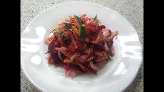 Сыроедческий салат с редькой и свеклой.