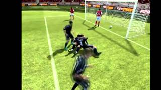 Fifa 12- Andy Carroll and Fabianski kiss to celebrate!