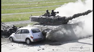 Car vs Main Battle Tank: Leopard 2A4 rams into cars at full speed