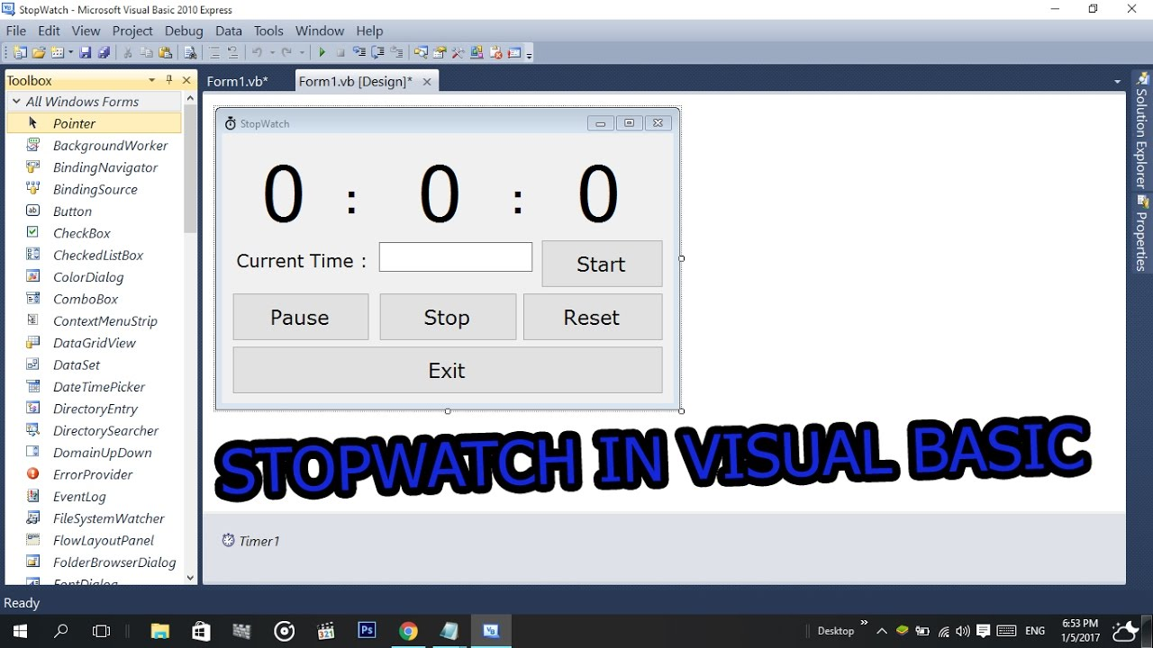 How To Make a StopWatch In Visual Basic (2008,2010,2015,2017) With ...