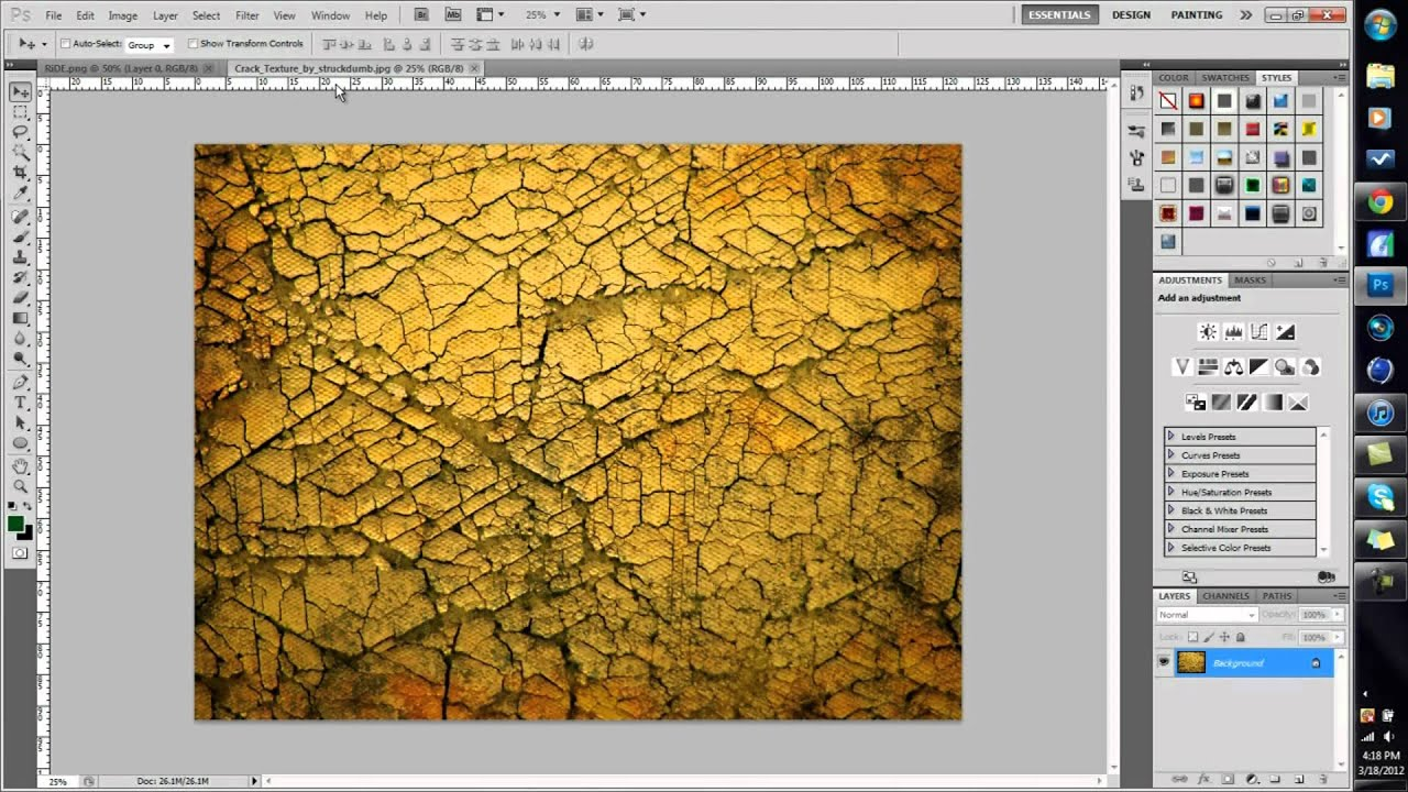How To Put Textures On Text Photoshop Tutorial Youtube