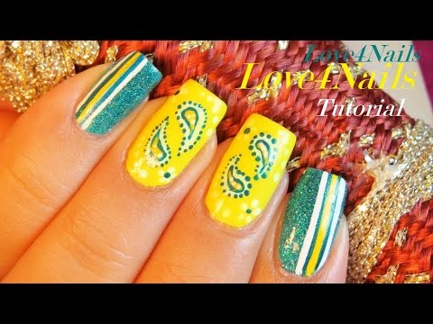 Yellow Blue Bandana Nail Art Design Tutorial Youtube