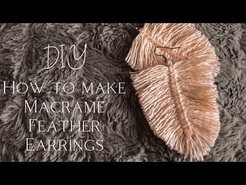 🌿 How to make Macrame Feather Earrings (DIY) 🌿