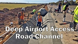 Deep Airport Access Road Channel