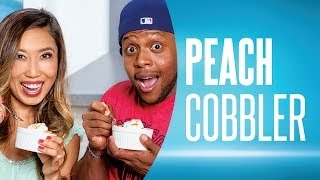 Easy Peach Cobbler Recipe Ft. Fitmencook & Blogilates