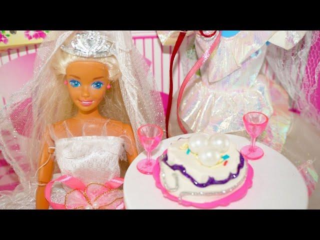 Gaun Pengantin Boneka Barbie Wedding Dress For Doll And Wedding Cake Kue Pernikahan Mainan Boneka Youtube