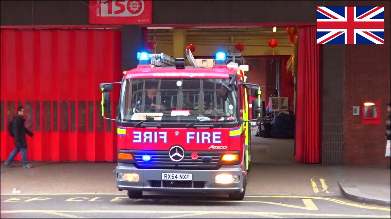 Fire Engine Responding London Fire Brigade Using Siren And Lights