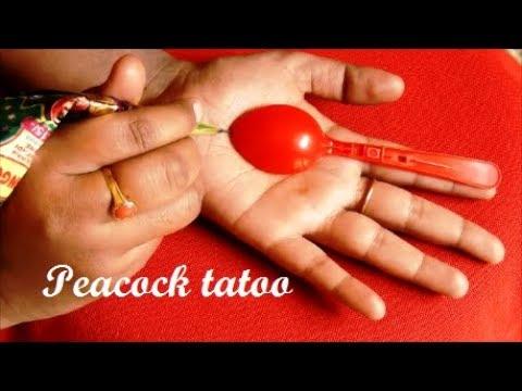 Simple Peacock Tatoo mehndi design for hands * Easy mehndi design for beginners