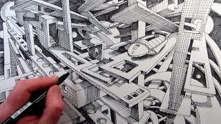How to Draw a Fantasy Cityscape in 2-Point Perspective: Time-Lapse