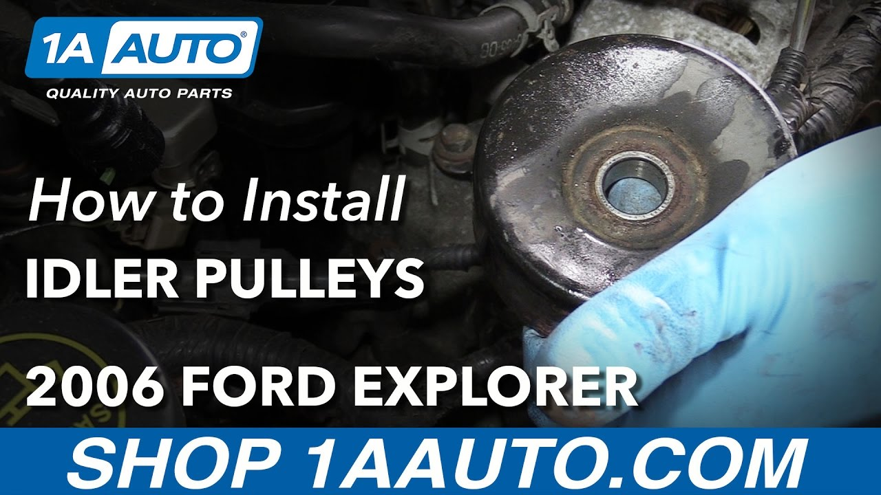how to replace smooth idler pulleys 01 09 v8 4 6l ford explorer 1a auto [ 1280 x 720 Pixel ]