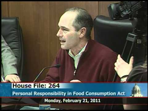 Rep. Tim Mahoney is against HF264 Personal Responsibility in Food Consumption Act