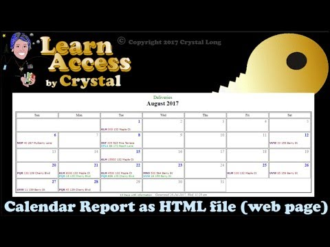 How To Create Calendar Reports From Access Queries With Dates! ... As Shareable Web Pages