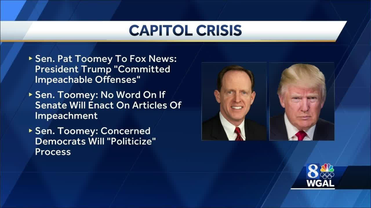 Sen. Pat Toomey joins call to impeach President Trump