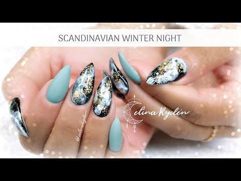 TUTORIAL | SCANDINAVIAN WINTER SKY | GALAXY | GEL NAILS