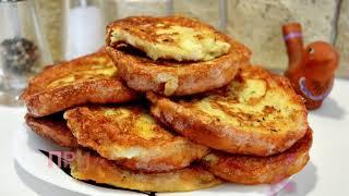 Мягкие и сочные гренки. Хлеб в яйцах. Рецепт веусных гренок.