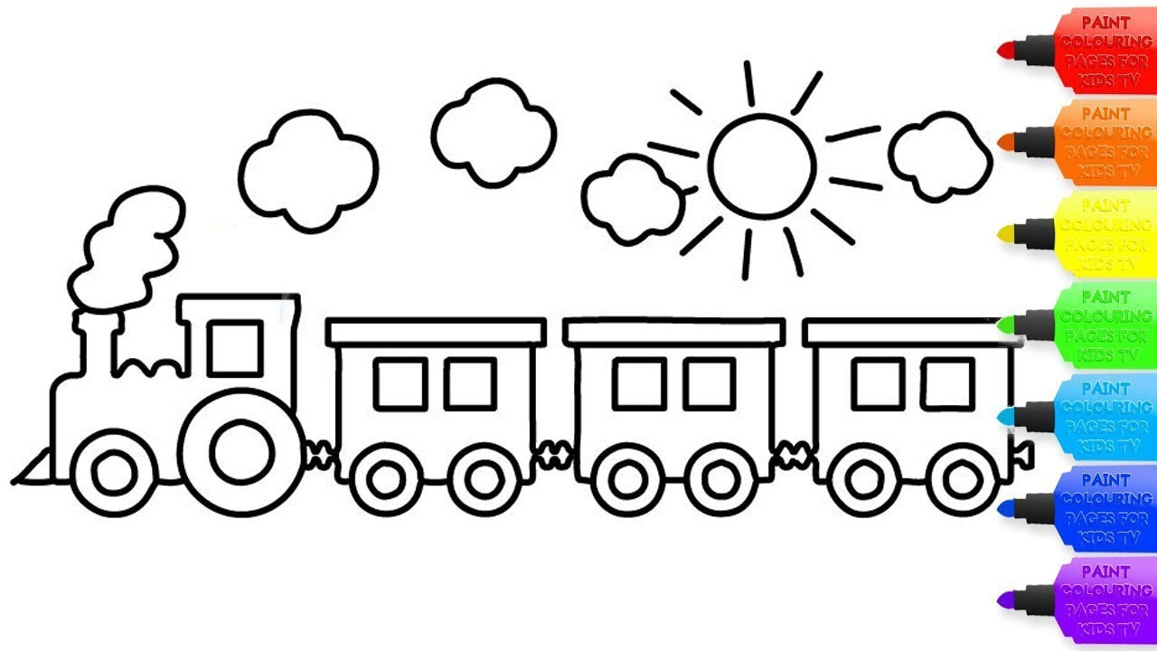 How to draw a toy train for kids   toy train coloring page for  kids Coloring Books