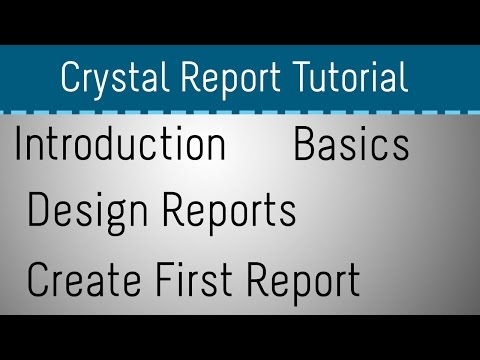 Crystal Report Tutorial for Beginners - Part 1 - YouTube