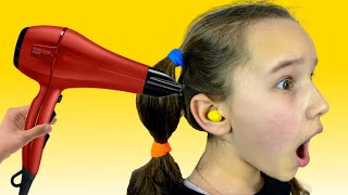 M&M'S Stuck in Ear - Funny Stories for children  Emi and Niki Family Show