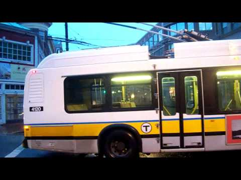 Trolleybuses (Trackless Trolleys) in Boston, USA - winter