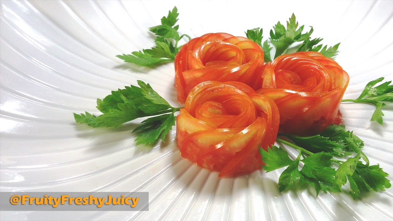 Fruits and vegetables carving designs - How To Make Tomato Rose Flower Garnish Art In Vegetable Fruit Carving Design Youtube