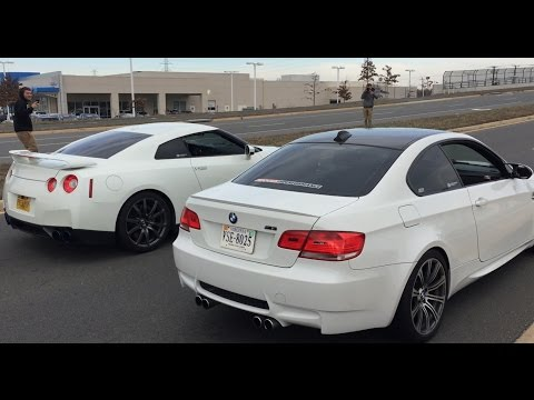 """Nissan GT-R R35 vs BMW M3 - """"Drag"""" Racing Outside Cars and Coffee"""