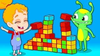 Groovy el marciano juega con Lego y vehículos para niños - Dibujos infantiles thumbnail